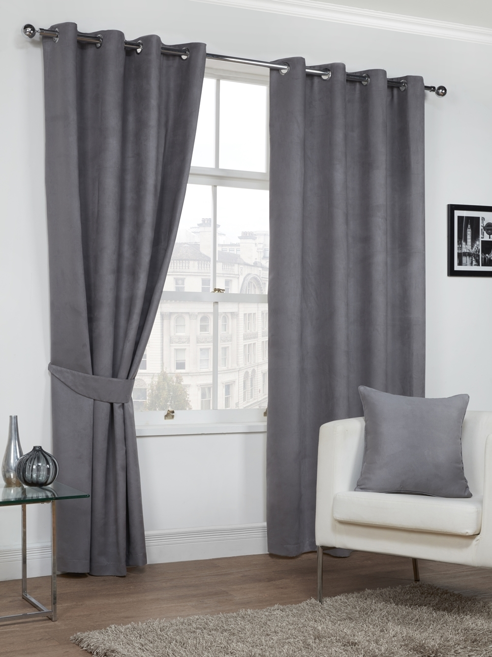 Curtains Grey Faux Suede Ready Made Lined Soft Ring Top Eyelet Pair New Ebay