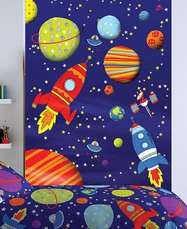 Catherine Lansfield Kids Outer Space Wall Mural - 158 x 232 cm