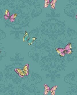 Damask Butterflies, Teal from Holden Decor