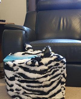 Zebra, Faux Fur, Animal Print Bean Cube, Footstool
