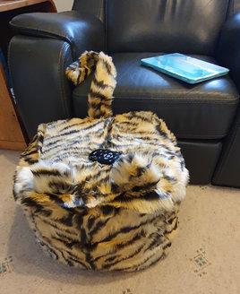 Tiger. Faux Fur, Animal Print Bean Cube, Foot Stool