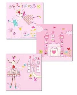 Princess and Castle Canvas Art - Set of 3