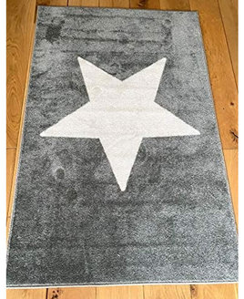 Grey rug with a large white star placed in the centre.