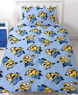 Blue toddler duvet cover and pillowcase patterned with small blue and yellow Minions from Despicable Me movie series.