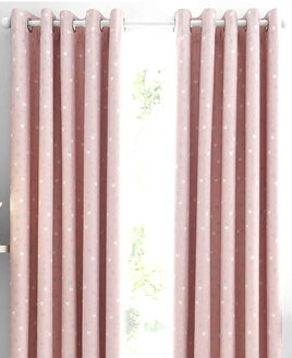 Catherine Lansfield Hearts and Stars, Girls Pink Blackout Curtains Set 72s