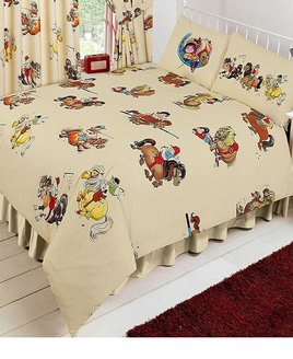 Cream duvet covers patterend with Thelwell, Cartoon Ponies and Riders.
