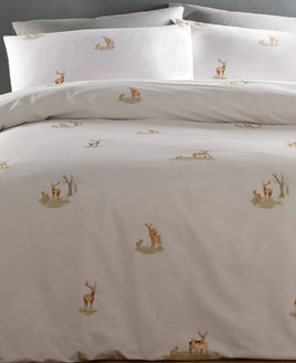 Deer on white bedding