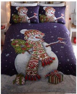 Happy Snowman, Christmas Double Bedding