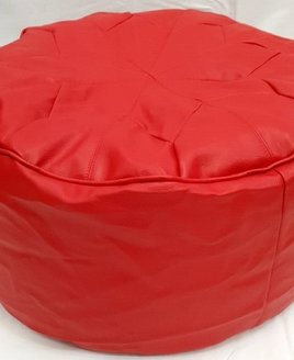 Red Faux Leather Patterned Beanbag Pouffe Footstool Bean Bag
