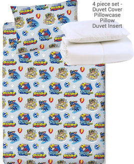 Paw Patrol Mighty Pups Duvet. Rows of Chase & Rubble on a pale grey background.