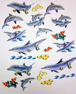 Peel and stick Dolphin Wall Stickers - Dolphins, Clown Fish, Blue and Yellow Shoals.