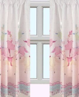 Pink and White Bedroom Curtains with Circus Show Horse, Ballerinas and a Pink and Blue Border.
