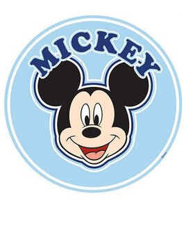 Large, Round ( 76cm) Wall Sticker with Micke Mouse on a pale blue background.