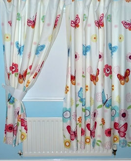 Butterflies, White Lined White Curtains 54s