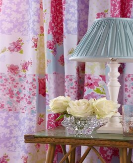 Pink and White Patchwork, Floral Curtains