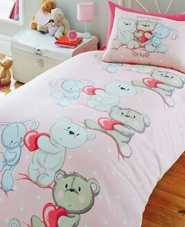 Girls Pink Bedding With White Spots featuring 2cute teddy bears and a lovely white rabbit.
