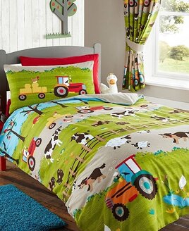 Kids Duvet Cover with rows of farmyard scenes. Tractors, cows,hens, sheep and orchards.