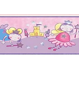 Fairy and Castles wallpaper border in pinks and lilac