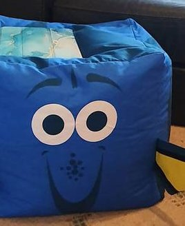 Blue, Fish Shaped Toddler Beanbag - Finding Dory. Cute smiley face and yellow fins.