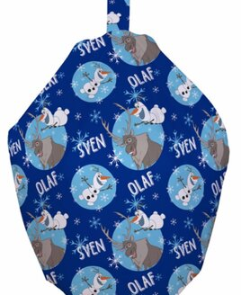 Olaf inspired Bean Bag for Kids. Child Sized, Dark Blue Bean Bag Patterned With Olaf, The Snowman and Snow Flakes
