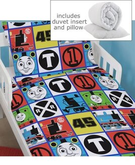 Blue and White Thomas The Tank Engine Toddler Duvet Cover, Junior Pillowcase with Pillow and Quilt Inserts.