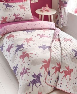 Pink and White Reversible Duvet. Pink & Purple, Patterned Unicorns, or Colourful Stars Pattern.
