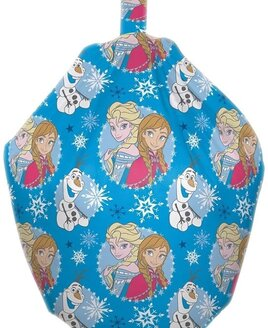 Arrendelle - Disney Frozen blue beanbag, patterned with white and grey snowflakes, Olaf with Anna and Elsa.