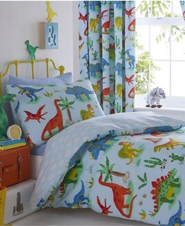 Kids Colouful Dinosaur Bedding Set with a Pale Blue Background. The reverse is a blue and white cloud design.