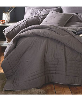 Grey Bedspread with Pale Grey Blanket Stitch Edging. Brushed Cotton