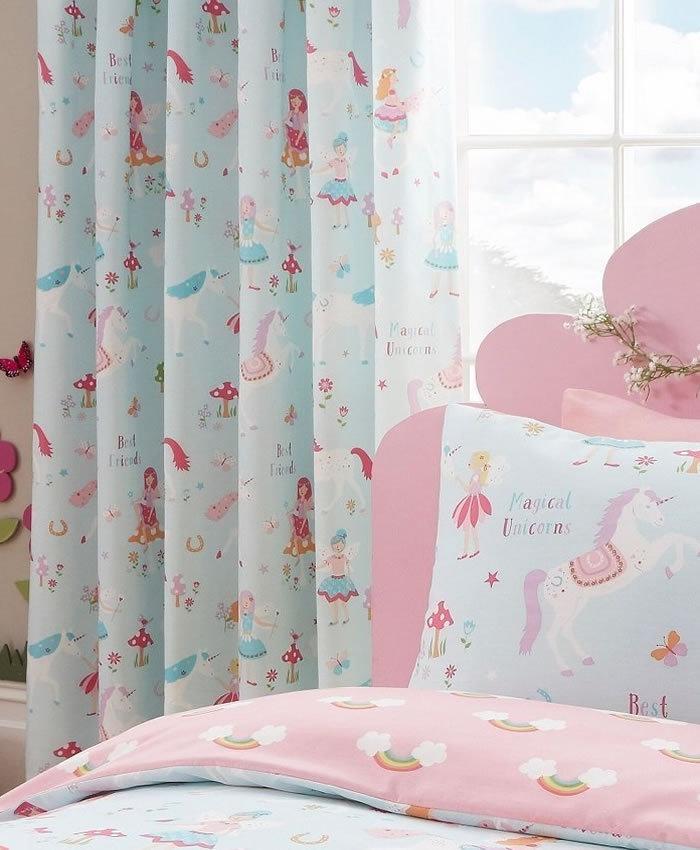 Unicorn And Rainbows Curtains Fairies Flowers