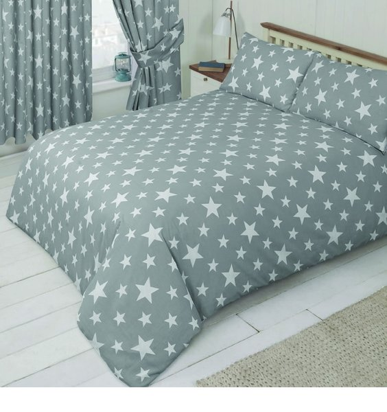 Grey Duvet Covers Patterned with two sizes of white stars.