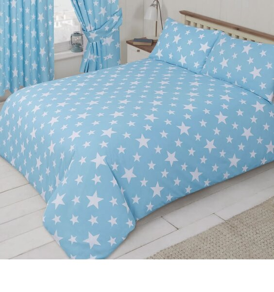 Pale blue, toddler duvet cover with a white star pattern.