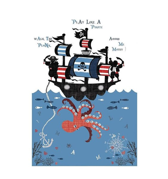 Catherine Lansfield Pirate Ship Wall Mural - 158 x 232 cm