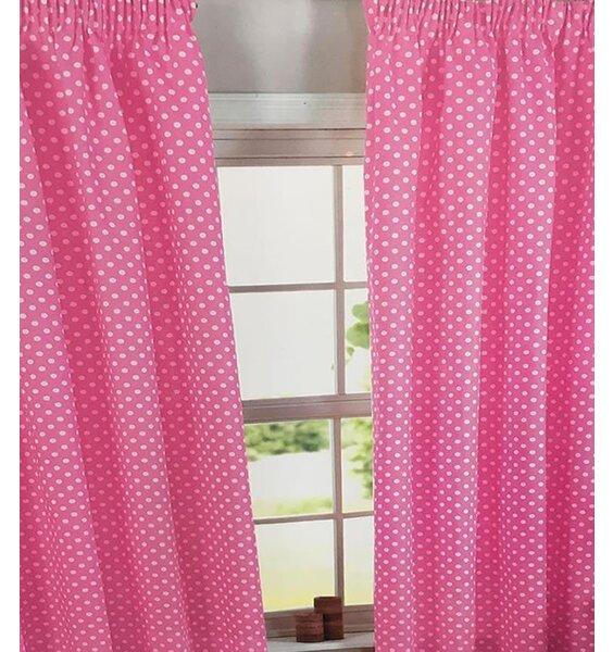 Pink, Polka Dot 100% Cotton Curtains 72s