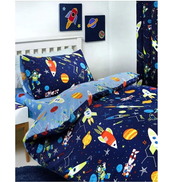 Glow In The Dark Space & Rockets Bedding Sets. Navy Blue with Stars, Rockets, Planets and Spacemen