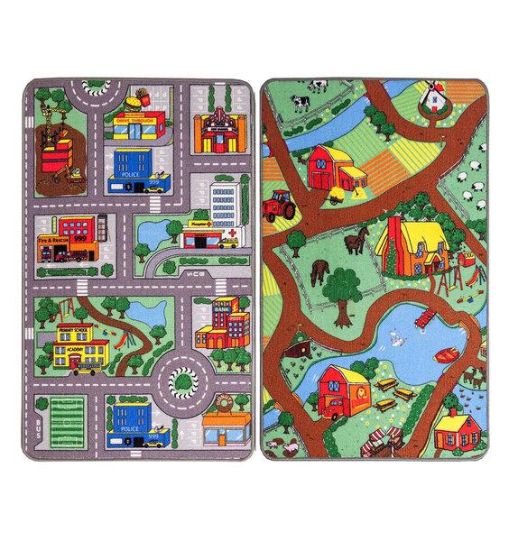 Kids Reversible Play Mats - Farm and City Run