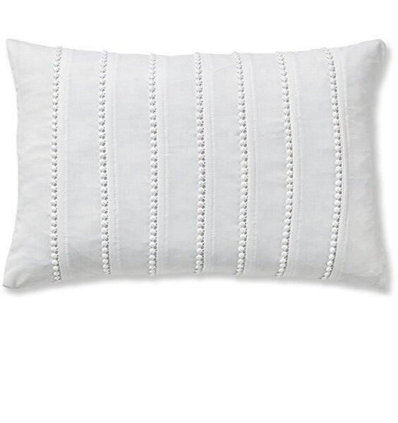 Catherine Lansfield Pom Pom Embellished Filled Cushion White, 30 x 40 cm