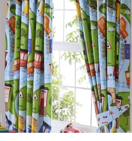 Toy Trains Blackout Curtains 72 inch drop