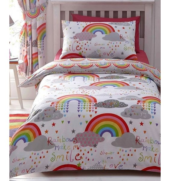 Children's White, fun duvet set patterned with colourful rainbows, hearts, stars and rain clouds.