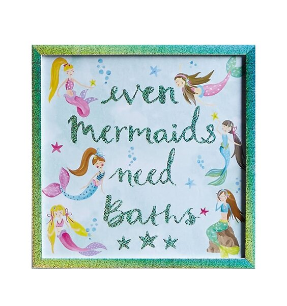 Mermaid Canvas Art. Sparkly green frame with pale blue background and 6 cute mermaids.