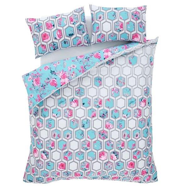 Catherine Lansfield Hexagon, Floral Duvet - Teal