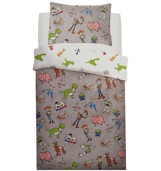 Reversible grey and white duvet with small images of all the Toy Story Characters.