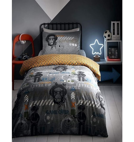 Reversible Duvets. Grey with Gamer Icons in dark grey adn white. Orange & grey diamond affect to the reverse.