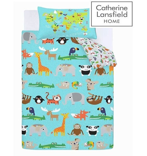 Reversible, children's duvet. Blue patterned with a range of jungle animals. Grey, patterned reverse.