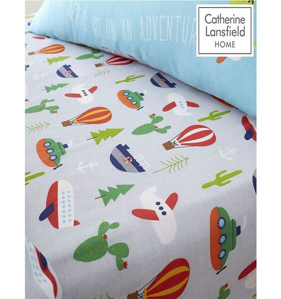 Catherine Lansfield Animal Adventure Easy Care Single Fitted Sheet Blue