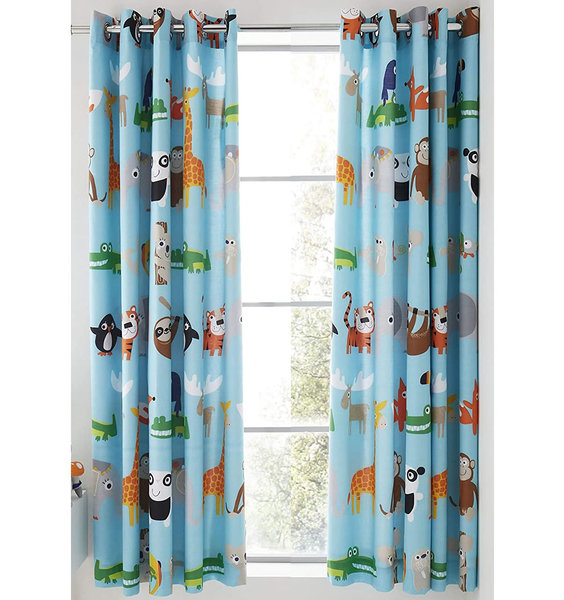 Catherine Lansfield Animal Adventure Easy Care 66x72 inch Eyelet, Nursery Curtains Blue