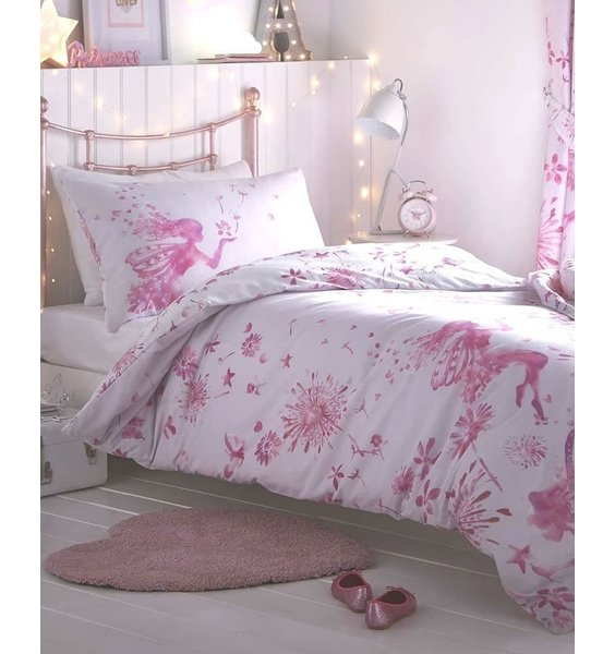White with pink fairies, butterflies and flowers.