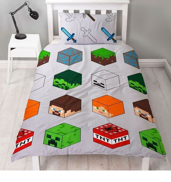 Grey Minecraft Duvet Cover and Pillowcase Patterned with the Boxy Game Pixels