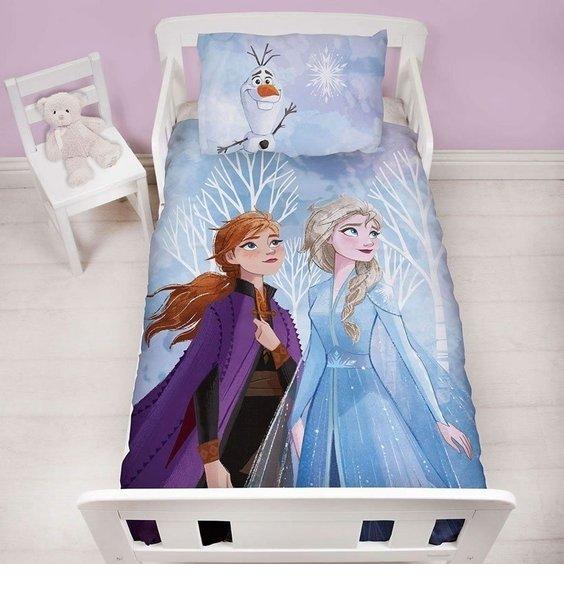 Girls, blue Disney Frozen Bedding. Elsa & Anna on the duvet, Olaf on the pillowcase.