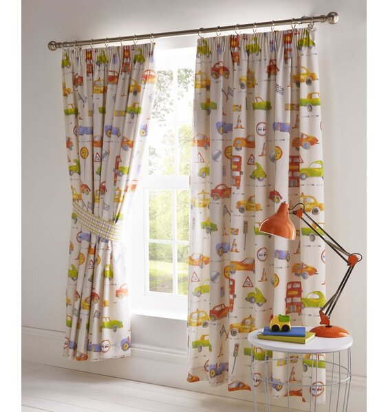 Boys lined pencil pleat curtains with cars, buses, race cars and road signs